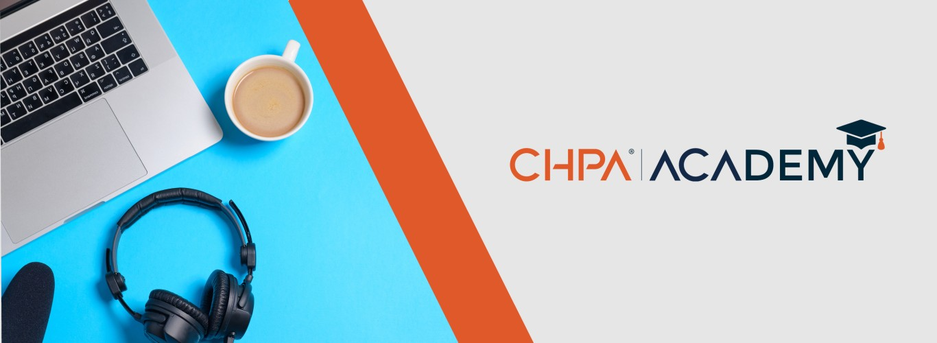 CHPA Academy logo with laptop, headphones, and coffee
