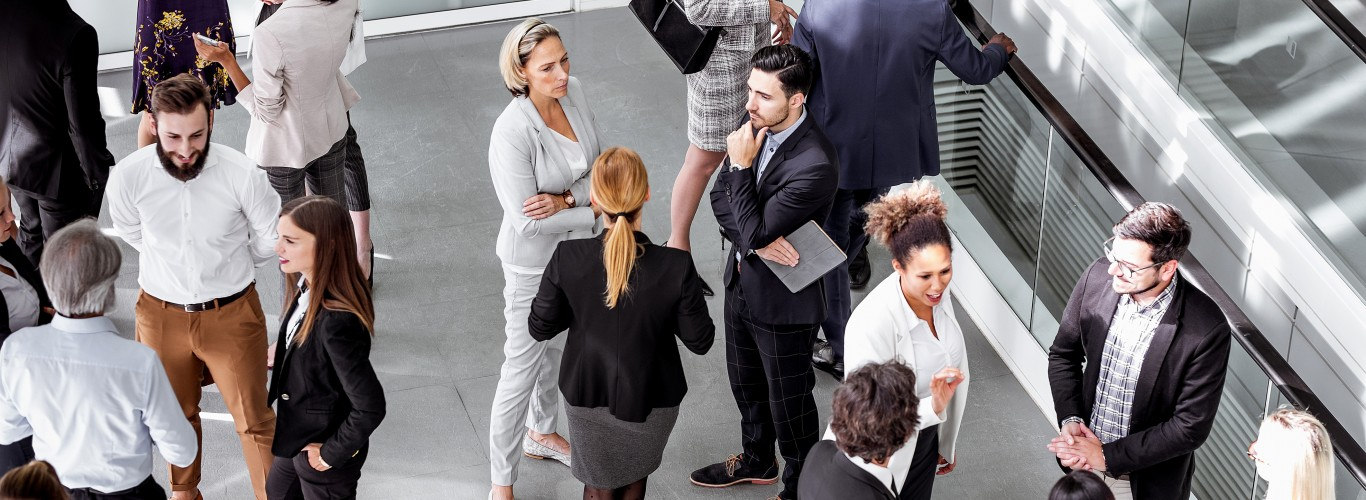 Small groups networking at a business conference