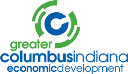 Greater Columbus Indiana Economic Development logo in green and blue