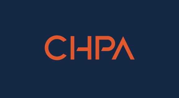 Orange CHPA logo on dark blue background