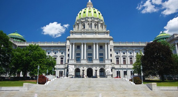 front view of the pennsylvania state house on a sunny day