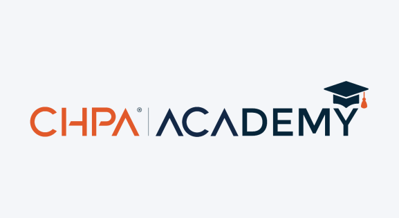 Orange and blue CHPA Academy logo
