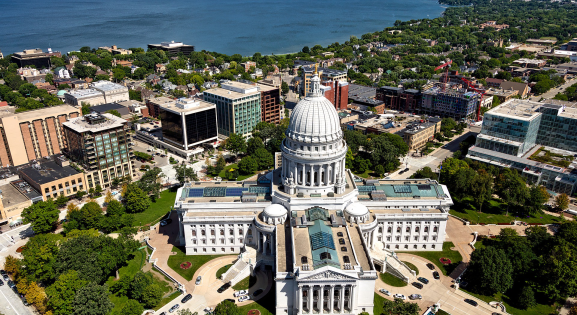 view of Wisconsin capitol building from above