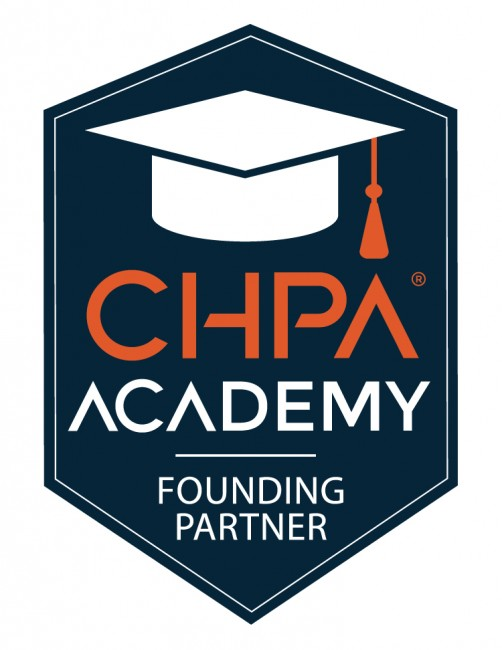 badge with white graduates cap and CHPA Academy Founding Partner text